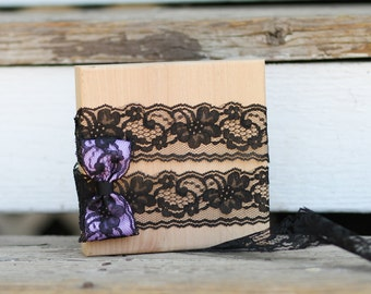 Black lace hair clip bow