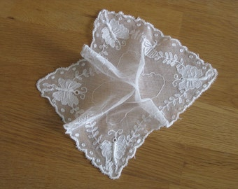 French net lace handkerchief with embroidered butterflies
