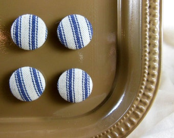 Blue Ticking Magnets, Set of 4