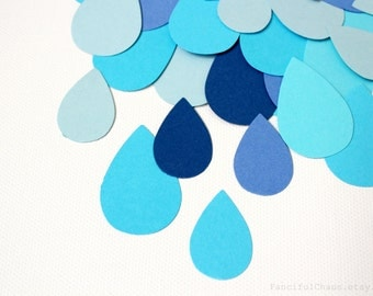 50 Water Rain Drops Die cuts punches cardstock 1X1.5 inch -Scrapbook, cards, embellishment, confetti, table decoration, Baby Shower