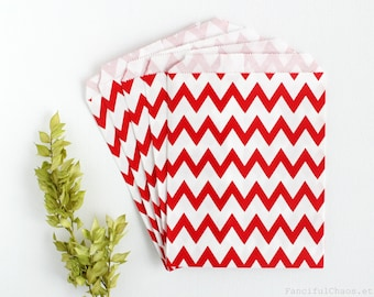 24 Red Chevron Flat Paper Bags 5X7 inch Party Favors, Wedding Favors, Birthday, Baby Shower, Bridal, Bakery