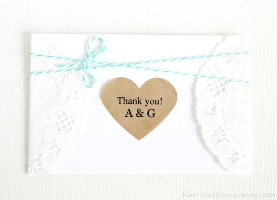 Personalized Thank You Monogram Initials 50 Kraft Heart