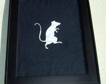 White Rat Print on Black Fabric in Black Frame
