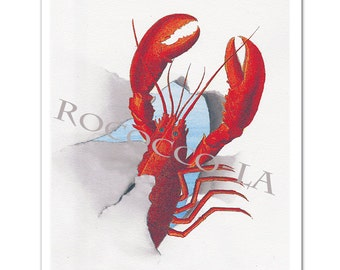 """Awesome Lobster!!!!! -  seaside print, pop art, posters with Lobster - Original ART Print 8"""" x 10"""""""