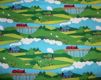 Thomas the Train Scenic Country Side Cotton Fabric Out of Print Hard to Find  By the Half Yard
