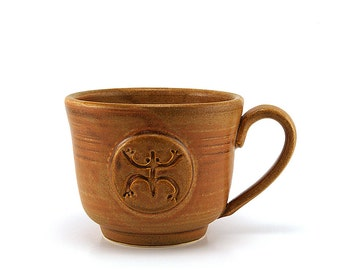 Coffee Mug with a Coqui, Brown Ceramic Frog Cup, Puerto Rico Taino Pottery, Handmade Gift for Men by MiriHardyPottery - Ready to Ship