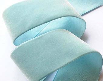 Vintage Velvet Ribbon, Blue 50MM  100% RAYON - LeRoi  Brand - Superb Quality- Velvet Trim