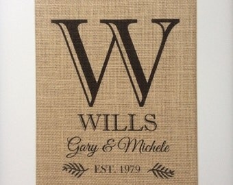 """Personalized Burlap Wedding Gift -8x10"""" or 11x14"""" -Monogram, Name, Est. Date - Engagement, Shower, Wedding, Anniversary, 2nd Anniversay Gift"""