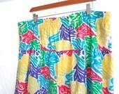 Vintage 90s Skirt Plus Size Floral Bright XL XXL colorful Rainbow Summer