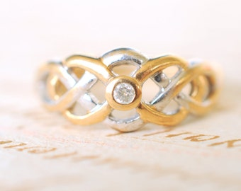RESERVED for A /// 1970's vintage diamond engagement ring / intertwine knots / 9k white and yellow gold // Love Knots