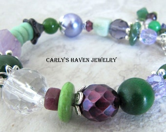 purple, green, and silver chunky beaded bracelet, ready to ship, handmade, gifts for women, gifts for mom