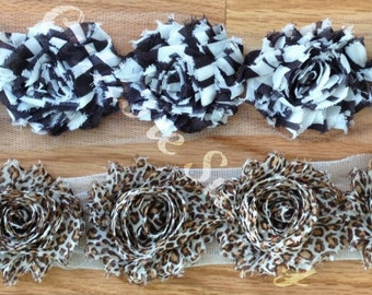 "2.5"" Shabby Chiffon Flower Zebra Leopard Shabby Chic Rosette Trim Animal Print Headband Supply - Set of 4 - Choose Your Color"