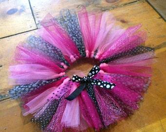 Girl's Tutu - Hot Pink & Black Dot Glitter Mix