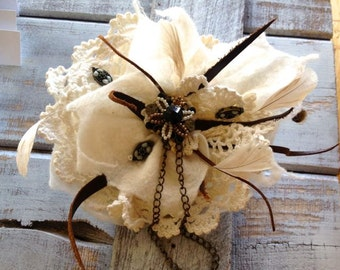 Felted flower pin brooch creme lace leather chain beads