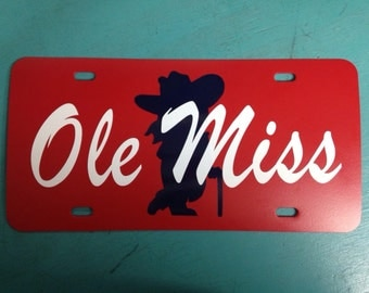 Colonel Reb Ole Miss license plate can be customized!