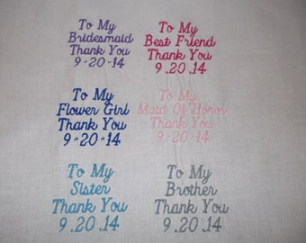 Custom Embroidered Handkerchief for Wedding. Thank You Personalized Guests