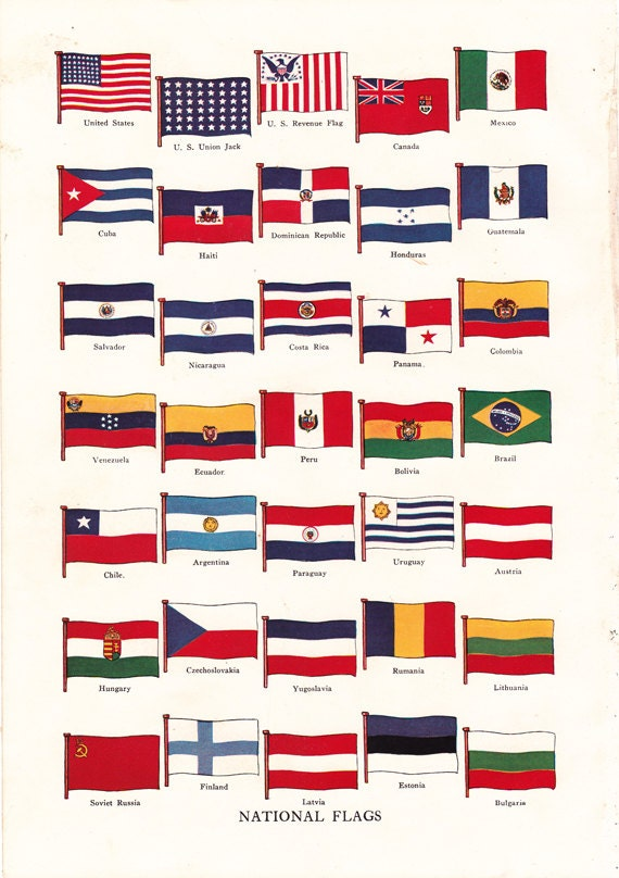 vintage flag print of national flags from around the world a