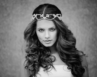 Custom Couture Crown, Boho Bridal Headpiece, Christmas Wedding Headpiece, Crystal Bridal Headpiece, The Laurelin Couture Halo style #114