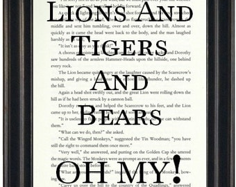 Lions And Tigers And Bears Oh My Book Page Print Wizard of Oz Art Print Book Lovers Gift