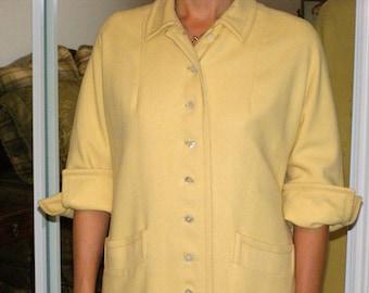 Vintage Australian Lambs Wool Coat by Bataldi Soft Buttery Yellow - Classic Vintage Coat