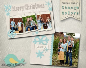 Christmas Card PHOTOSHOP TEMPLATE - Family Christmas Card 58