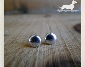 Mirror Mirror. Post Earrings -- (Silver Studs, Small, Simple, Modern, Minimalist, Classic, Round, Vintage Style, Unisex, Gift Under 10)