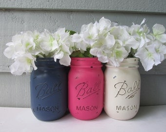 Painted and Distressed Ball Mason Jars- Hot Pink, Navy and Cream-Set of 3-Flower Vases, Rustic Wedding, Centerpieces
