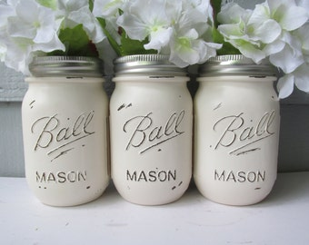 Painted and Distressed Ball Mason Jars- Cream/White/Ivory of 3-Flower Vases, Rustic Wedding, Centerpieces