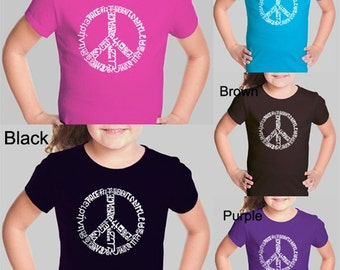 Girl's T-shirt - Created using The Word Peace in 20 Languages