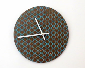 Wall Clock, Brown and Teal, Decor and Housewares, Home and Living, Home Decor, Wall Clocks, Unique Gift
