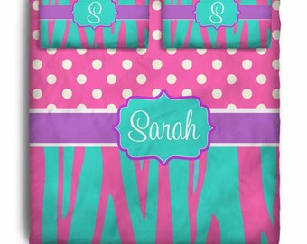 Hot Pink and Teal Zebra Custom Personalized Bedding