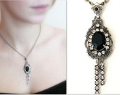 Gothic Necklace Silver  Black Swarovski Crystal Pendant - Women's Gift - More Colors - Gothic Jewelry