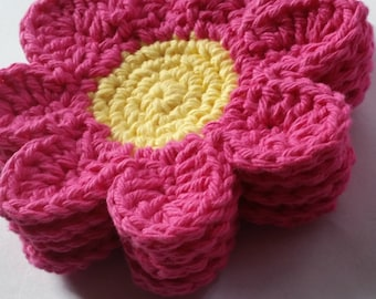 Crochet Cup Coaster Set of 4, Cup Coasters, Flower Coasters, Crochet Cup Coasters