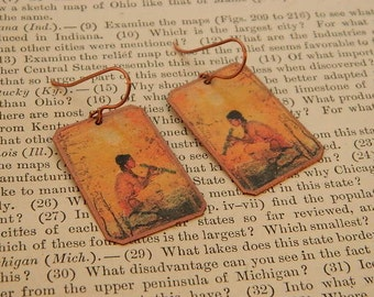 Native American inspired earrings art earrings mixed media jewelry