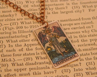 Tarot pendant tarot jewelry Temperance minimalist jewelry mixed media jewelry supernatural