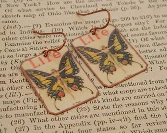 Art earrings butterfly jewelry Leyendecker art mixed media jewelry wearable art