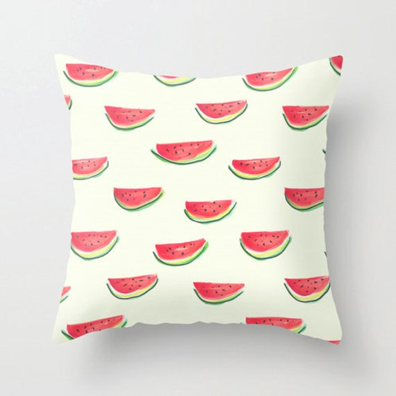 Cute Tumblr Pillows Etsy : Watercolor pillow home decor watermelon print fruit