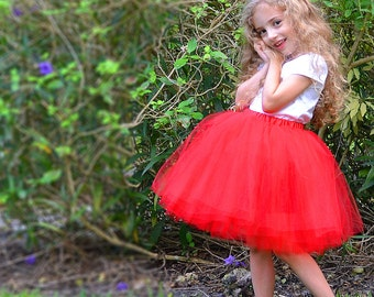 Ruby Red Sewn Tutu, 14-in Long, in Multiple Sizes, Ready to Ship.
