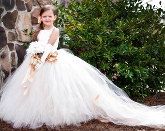 Flower Girl Floor Length Sewn Tutu Dress in Ivory Blush Satin Corset Top with Lace Overlay and Straps Detachable Train CUSTOMIZABLE