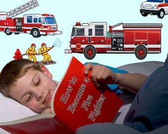 Wall Decals of Fire Engines for Boys Room Walls