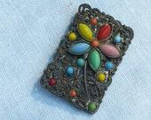 Brooch - Filigree with Multi-Color Bead Flowers - Vintage