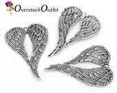 2 Antiqued Silver Giant Angel Wing Pendants BH103 ZB