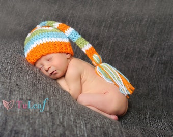 Summer Colors Pixie Sleeping Stocking Cap Bright Orange Blue White And Green Striped Crochet Hat Newborn Photo Prop