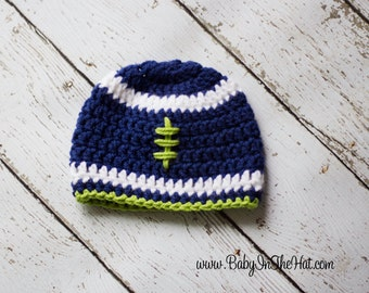 Children's Seattle Seahawks Blue and Green Football Beanie Crochet Hat Photo Prop
