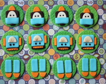 Fondant Cupcake Toppers - Robot-Themed Fondant Toppers - Great for Cupcakes, Brownies, Cookies and More