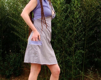 purple grey TOUR organic dress hippie patchwork organic cotton hooded hoodie pockets pastel earthy MADE to ORDER