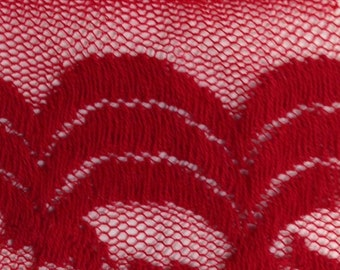 Red Scalloped Stretch Lace Fabric - 2 Yards