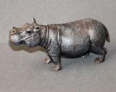 """INCREDIBLY DETAILED HIPPOPOTAMUS """"Hippo Small"""" Figurine Statue Sculpture Art / Limited Edition / Signed & Numbered"""