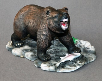 """Bear Bronze """"Sushi Garden"""" Figurine Statue Sculpture Art / Limited Edition Signed & Numbered / WONDERFLY DETAILED"""