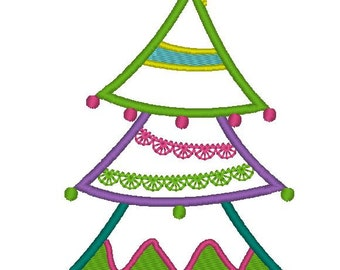 INSTANT DOWNLOAD Wacky Christmas Tree Machine Embroidery Applique Design
